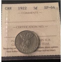1922 Canada 5 Cent Far Rim ICCS Certifed SP-64
