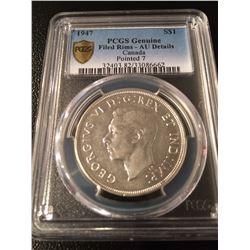 1947 Canada Dollar Pointed 7 PCGS AU Details