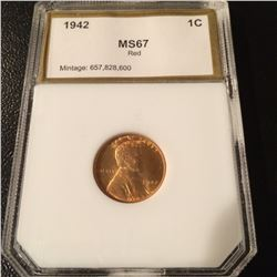 1942 Lincoln Cent PCI MS67 Red
