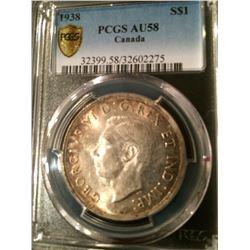 1938 Canada Dollar PCGS AU58