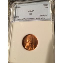 1939-D Lincoln Cent NNC MS67 Red