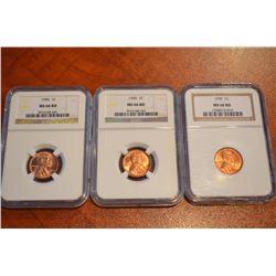 USA;  1949 1¢ & 1950(2) NGC MS66.  Lot of 3 coins.