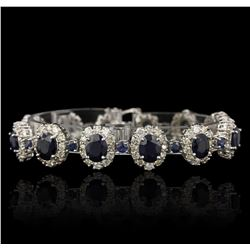 14KT White Gold 17.61ctw Sapphire and Diamond Bracelet