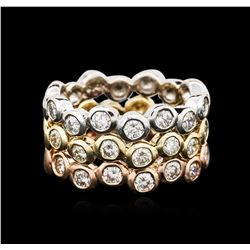 14KT Three-Tone Gold 1.37ctw Diamond Rings