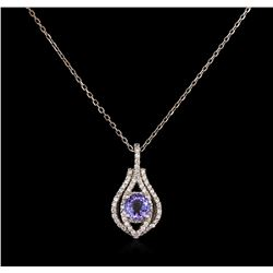 1.16ct Tanzanite and Diamond Necklace - 14KT White Gold
