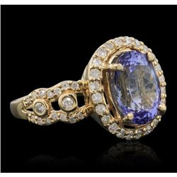14KT Yellow Gold 3.43ct Tanzanite and Diamond Ring