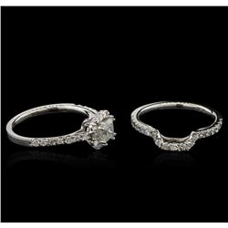 1.36ctw Diamond Wedding Ring Set - 14KT White Gold