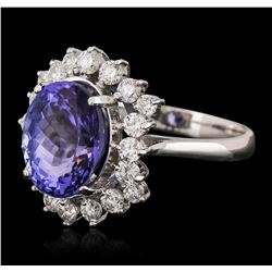 14KT White Gold 3.88ct Tanzanite and Diamond Ring