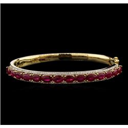 7.28ctw Ruby and Diamond Bangle Bracelet - 14KT Yellow Gold