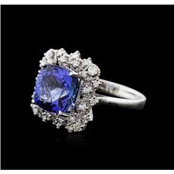 14KT White Gold 5.12ct Tanzanite and Diamond Ring