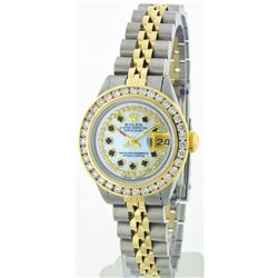 Rolex Two-Tone 2.50ctw Diamond and Sapphire DateJust Ladies Watch