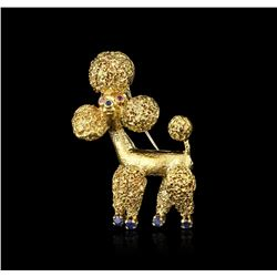 18KT Yellow Gold 0.47ctw Sapphire and Ruby Poodle Brooch