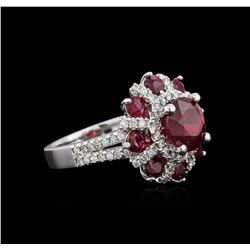 14KT White Gold 4.24ctw Ruby and Diamond Ring