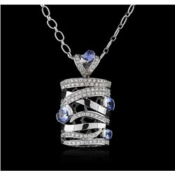 14KT White Gold 3.60ctw Tanzanite and Diamond Pendant With Chain