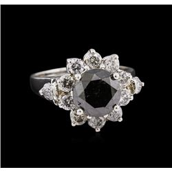 3.17ct Fancy Black Diamond Ring - 14KT White Gold