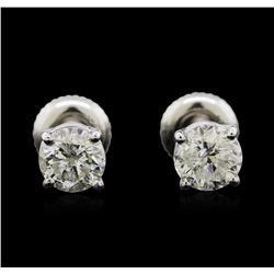 1.33ctw Diamond Stud Earrings - 14KT White Gold