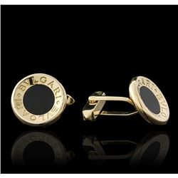 18KT Yellow Gold Black Onyx Bulgari Cuff Links