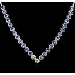 14KT White Gold 16.08ctw Tanzanite and Diamond Necklace