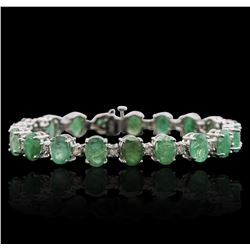 14KT White Gold 20.90ctw Emerald and Diamond Bracelet