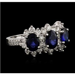 14KT White Gold 3.00ctw Sapphire and Diamond Ring