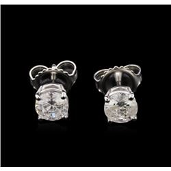 1.08ctw Diamond Solitaire Earrings - 14KT White Gold