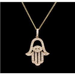 0.68ctw Diamond Pendant With Chain - 14KT Yellow Gold
