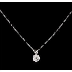 0.57ct Diamond Pendant With Chain - 14KT White Gold