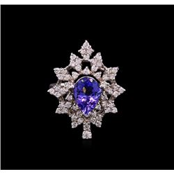 2.00ct Tanzanite and Diamond Ring - 14KT White Gold