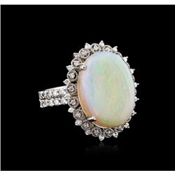 14KT White Gold 6.44ct Opal and Diamond Ring