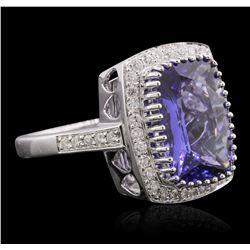 14KT White Gold 5.95ct Tanzanite and Diamond Ring