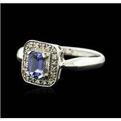 14KT White Gold 0.64ct Tanzanite and Diamond Ring