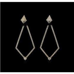 1.23ctw Diamond Dangle Earrings - 14KT White Gold