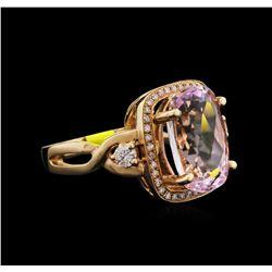 6.13ct Kunzite and Diamond Ring - 14KT Rose Gold