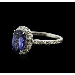 18KT White Gold 1.69ct Tanzanite and Diamond Ring