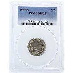1937-S PCGS Graded MS65 Buffalo Nickel Coin