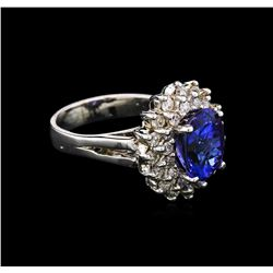 3.50ct Tanzanite and Diamond Ring - 14KT White Gold