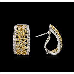 3.38ctw Fancy Yellow Diamond Earrings - 14KT Two-Tone Gold