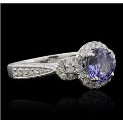 14KT White Gold 1.51ct Tanzanite and Diamond Ring