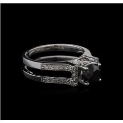 1.85ctw Black Diamond Ring - 18KT White Gold