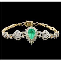 2.55ct Emerald and Diamond Bracelet - 14KT Yellow Gold