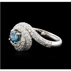 14KT White Gold 1.29ctw Fancy Blue Diamond Ring