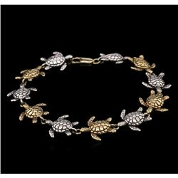 14KT Yellow Gold and Sterling Silver Turtle Bracelet