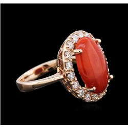 4.80ct Red Coral and Diamond Ring - 14KT Rose Gold