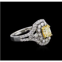 18KT Two-Tone Gold GIA Certified 2.07ctw Fancy Yellow Diamond Ring
