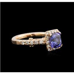 1.52ct Tanzanite and Diamond Ring - 14KT Rose Gold