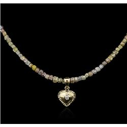 14KT Yellow Gold 21.73ctw Rough Diamond Necklace With Charm