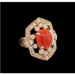 14KT Rose Gold 3.17ct Coral and Diamond Ring
