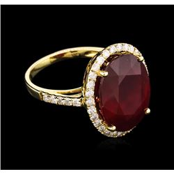 13.15ct Ruby and Diamond Ring - 14KT Yellow Gold