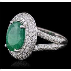 14KT White Gold 3.84ct Emerald and Diamond Ring