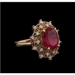 5.30ct Ruby and Diamond Ring - 14KT Rose Gold